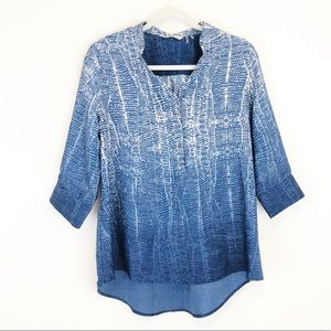 Soft Surroundings Blue and White Hombre Tunic Top